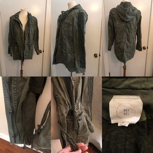 Anthropologie olive green jacket with hood size L